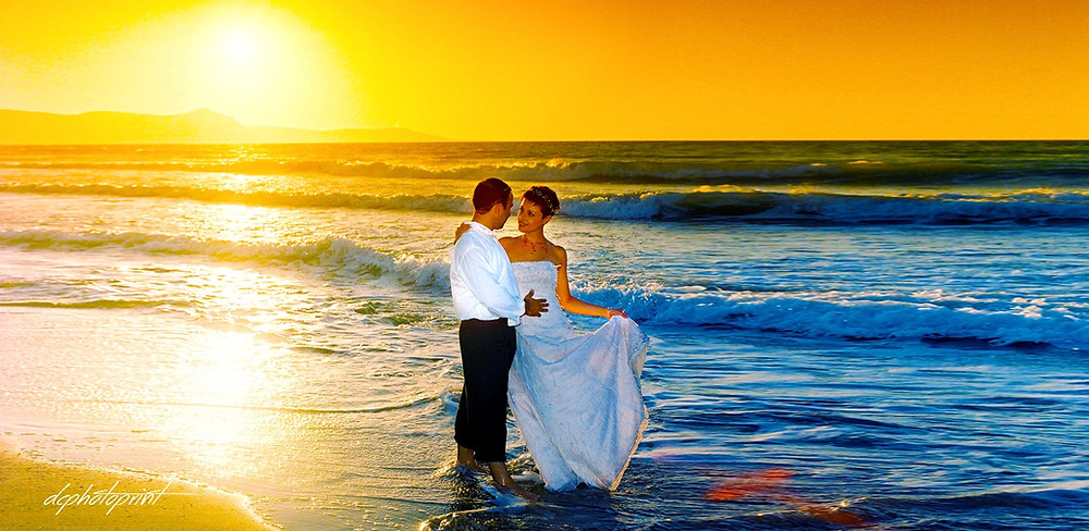Picture of Elegant beautiful Just married romantic Bride at Sunset on a Beautiful Mediterranean Paphos Beach | stunning photography