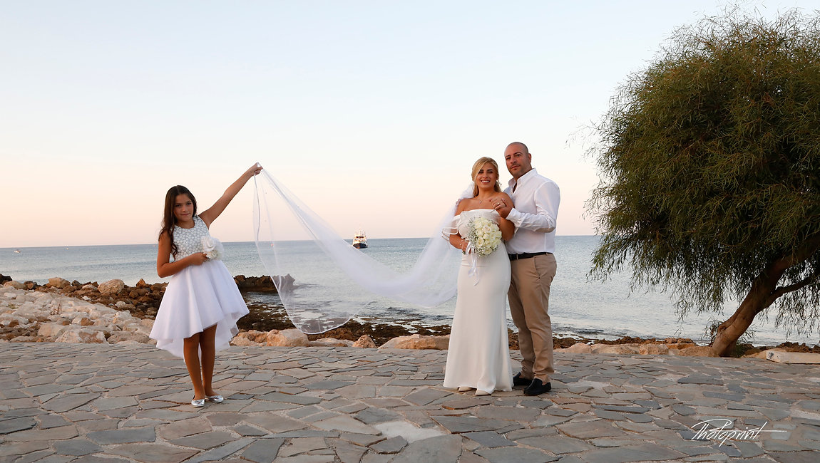 Picture of Elegant beautiful Just married romantic Bride at Sunset on a Beautiful Mediterranean Protaras Beach | protaras wedding photography cyprus, cyprus wedding photographer protaras