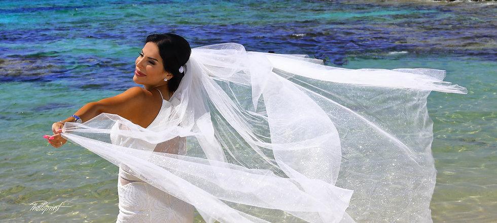 Portrait of beautiful bride at the beach Ammos tou Kambouri in Agia Napa. Agia napa wedding photography