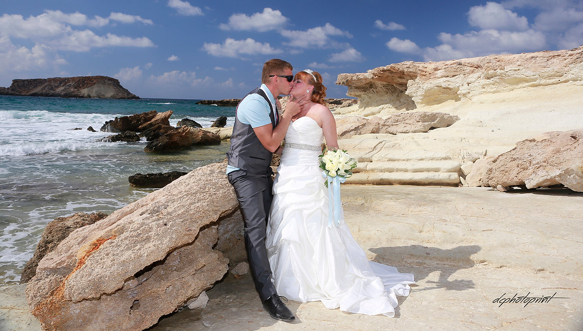 Bride and Groom, Kissing at Sunset on a Beautiful Tropical Beach of Paphos | wedding photography ceremony municipality Paphos, wedding ceremony in Paphos town hall