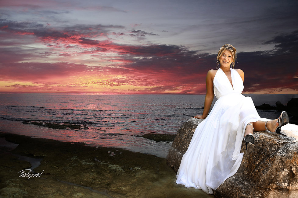 Happy brunette bride Close-up portrait of gorgeous beautiful bride in white dress with amazing hair at beautiful beach sunset at Larnaca. photoprint cyprus