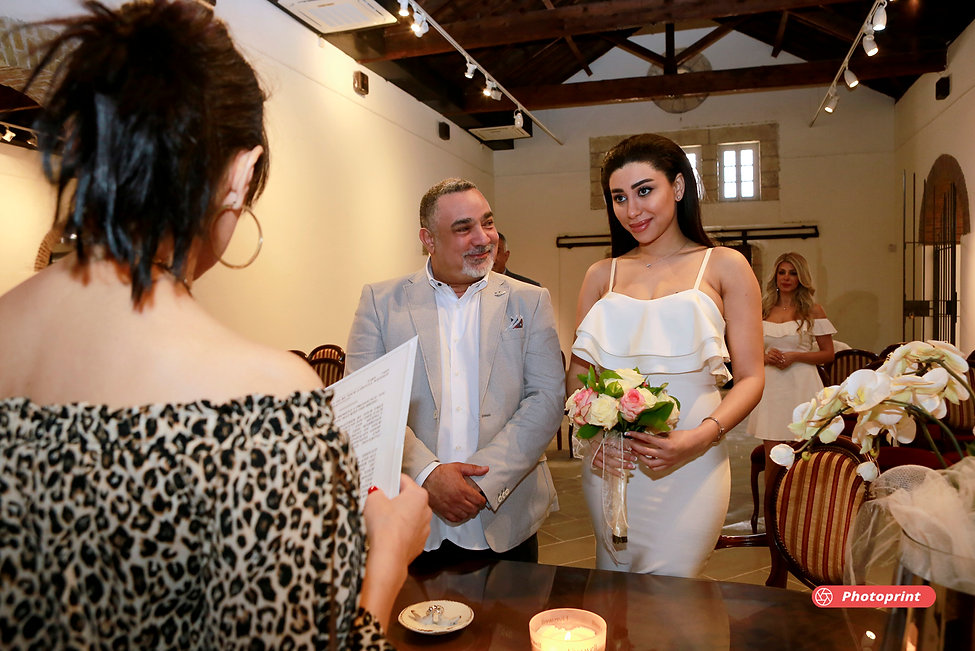 Bride and groom in municipality on wedding ceremony | cyprus wedding photographers packages for larnaca
