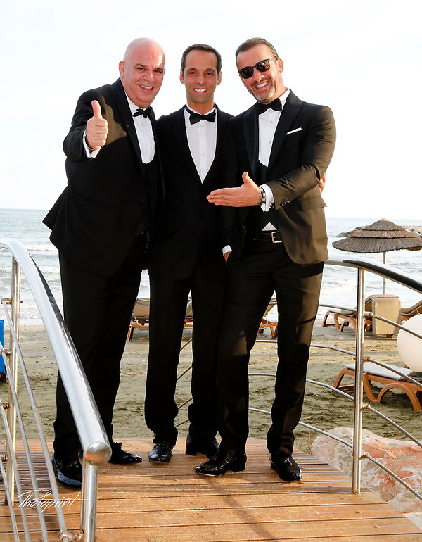 The groom along with the Brother and the best man by the sea | cyprus wedding photographer Larnaca,lebanese  wedding in yermasoyia municipality, lebanese  wedding in limassol