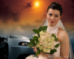 Close-up portrait of gorgeous beautiful bride in white dress with amazing hair style and make up, holding bouquet. Colorful sunset over the sea