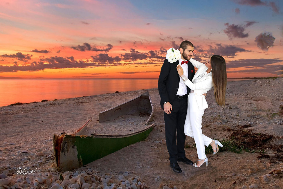 The beautiful bride with the most striking blue eyes at Sunset in a Beautiful Mediterranean ayia napa Beach - wedding portfolio