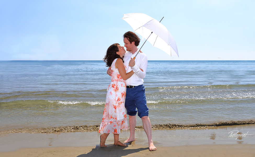 Romantic picture of the marriage couple by the beach