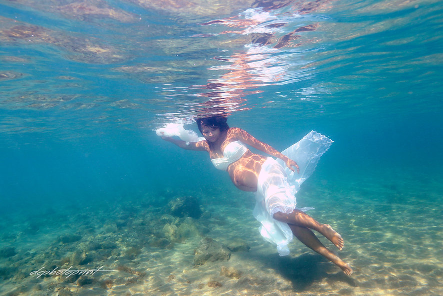 cyprus wedding photographer  photo shoot underwater by the beach Paphos