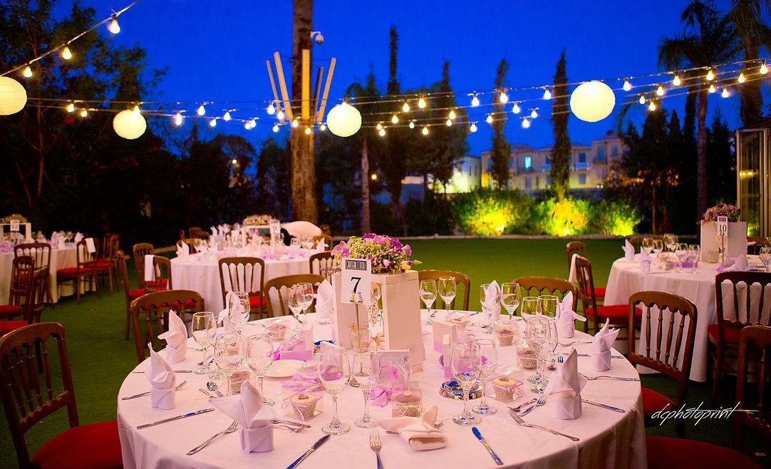 Beautiful wedding reception, outdors wedding reception venue with decor | wedding ayia napa photographers, cyprus wedding photographers town hall ayia napa