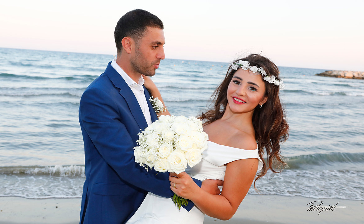 Couple in love in the beach on Mediterranean sea  | larnaca cyprus wedding package for lebanese weddings, wedding larnaca photography cyprus