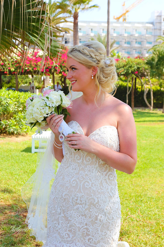 Happy  bride Close-up portrait of gorgeous beautiful bride in white dress with amazing hair style and make up, with bouquet of flowers at Nissi beach resort in ayia napa, Cyprus  | nissi beach hotel, ayia napa, bride, photograph, flower, woman, gown