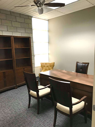 Furnished private office wooden desk