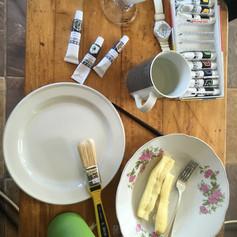 painting, lemonade and cassava