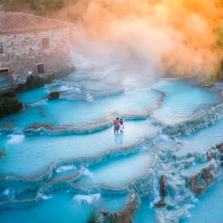Sunrise at Tuscany's hot springs