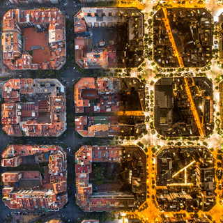 day and night top down in Barcalona
