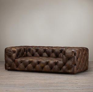 Tufted 3 Seater Leather Sofa