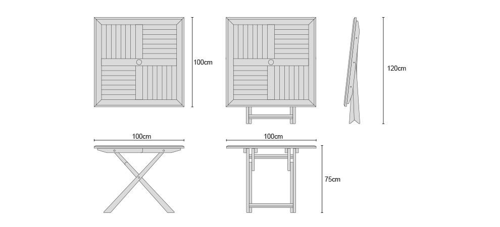 LT326 Suffolk Teak Square Folding Table