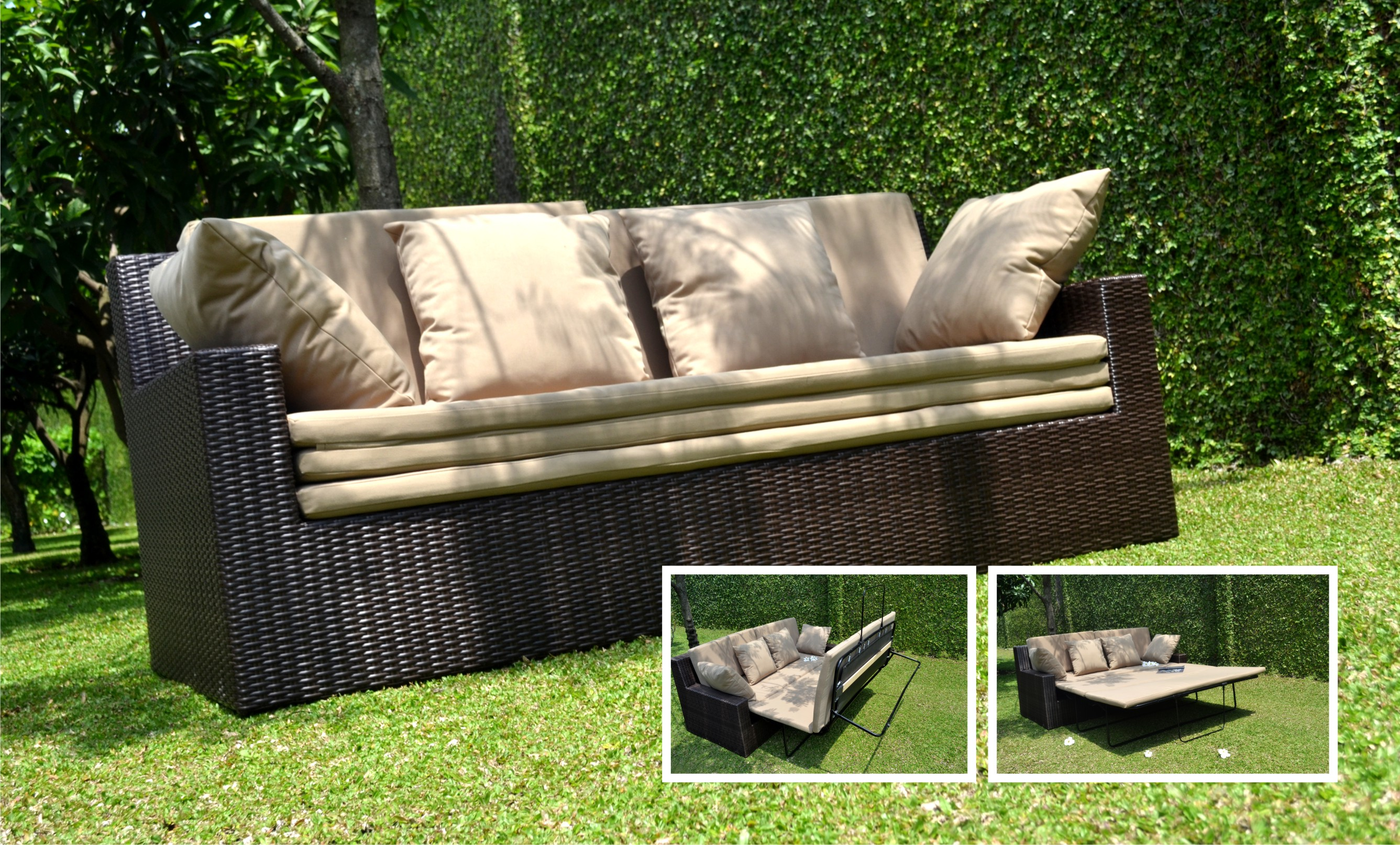 Rattan Convertable Sofa Bed