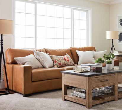Light Brown Leather Arm Sofa three Seate