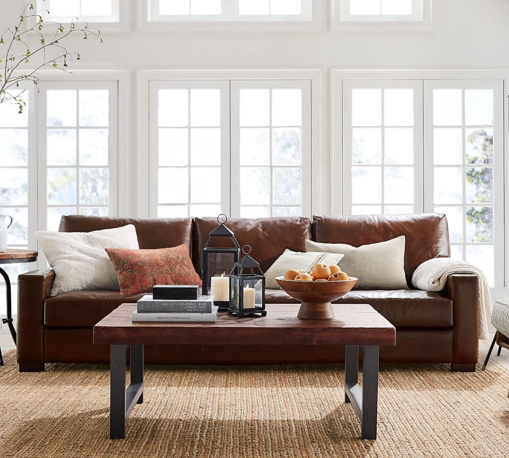 Dark Brown Leather Arm Sofa three Seater