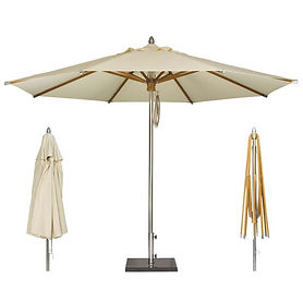 Aluminium Beach Umbrella With Teak Ribs.