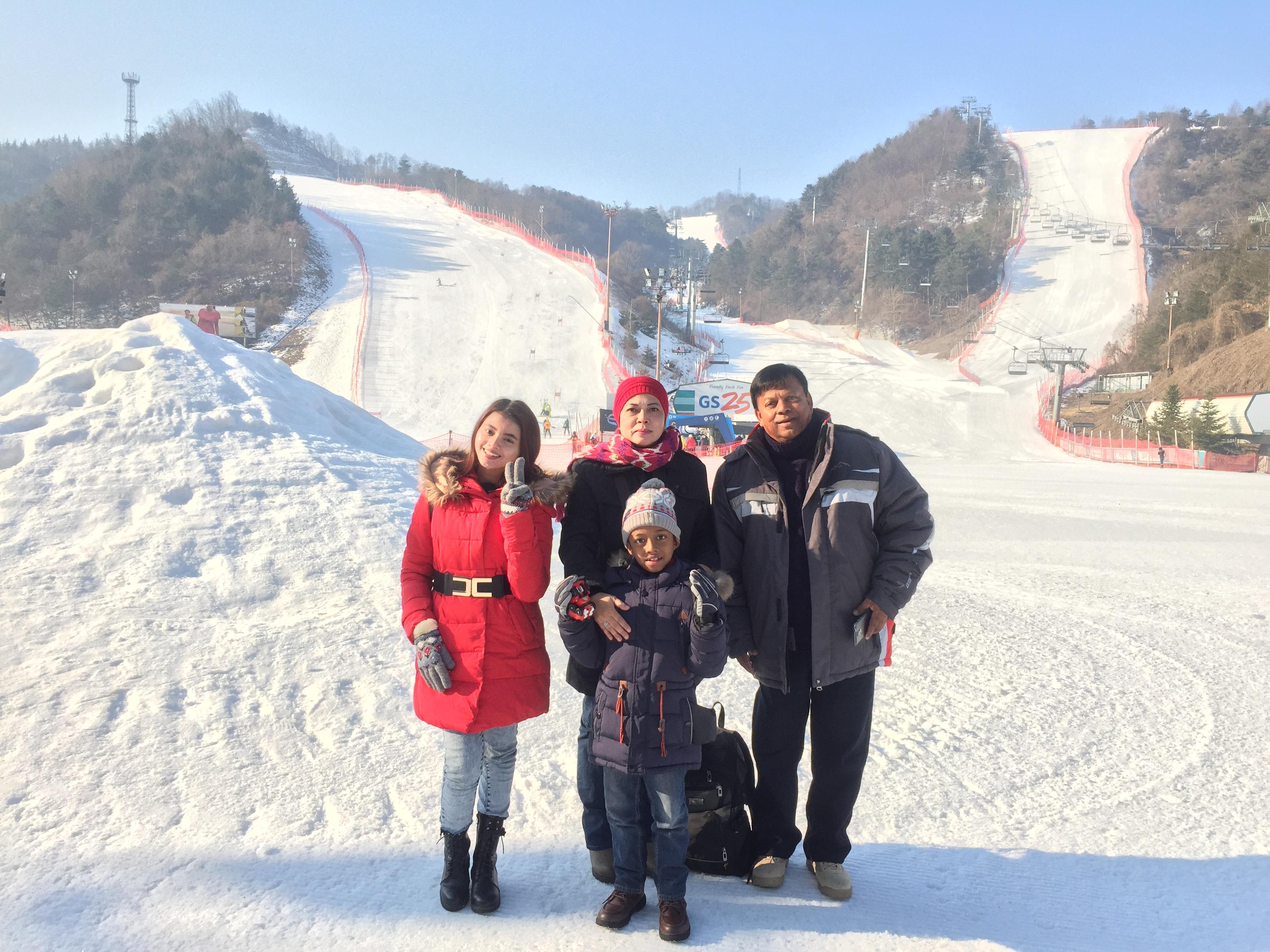 Enjoying the ski resort