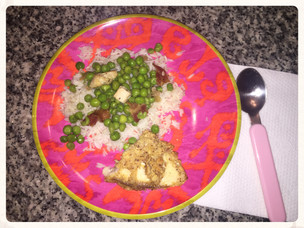I Got Them to Eat Peas!                           Pea and Bacon Recipe with Breaded Tilapia and Whit