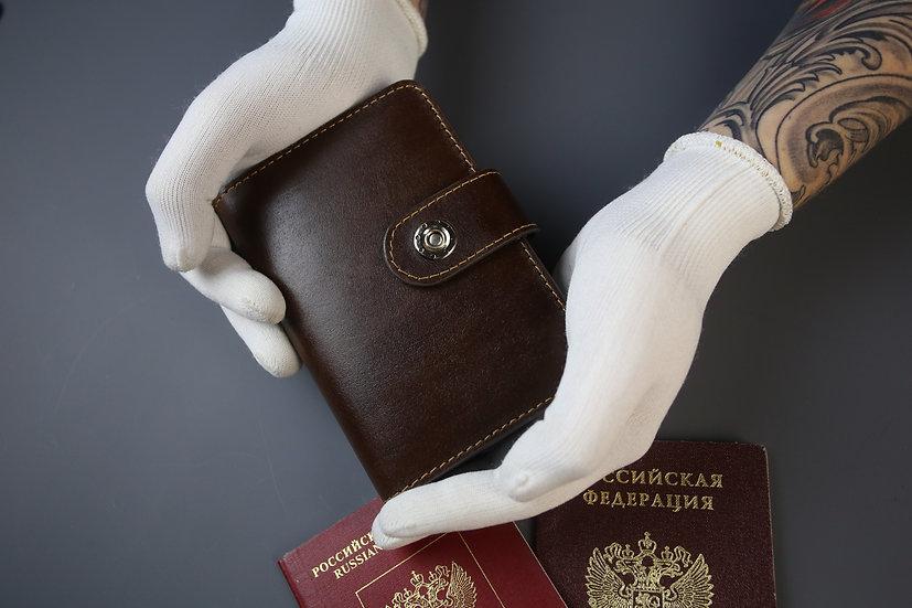 """Обложка для паспорта и авто документов Shokuroff """"Коготь"""" brown"""