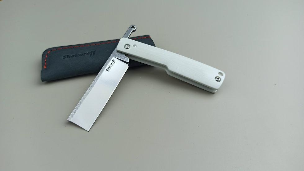 Фрикционный складной нож Shokuroff Бритва | белая G10