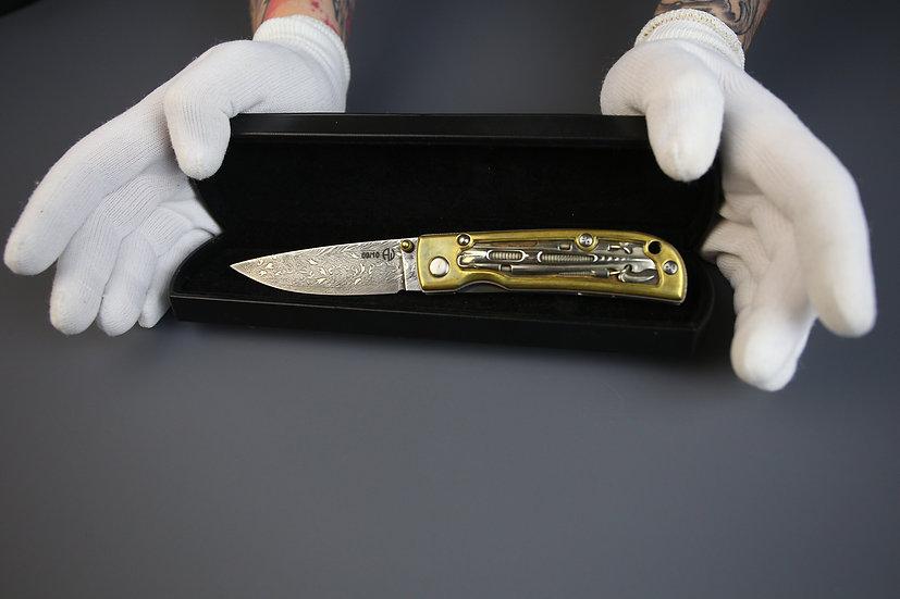 Коллекционный складной нож ручной работы Shokuroff STIGER art custom knives