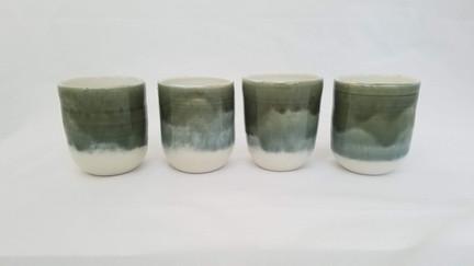 Green and White Tumblers