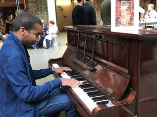 Playing at St. Pancras Station on Monk's Birthday
