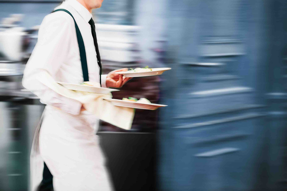 Waiter Serving In Motion On Duty in Rest