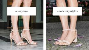 Unsere Schuhe: «everyday» und «not every night»