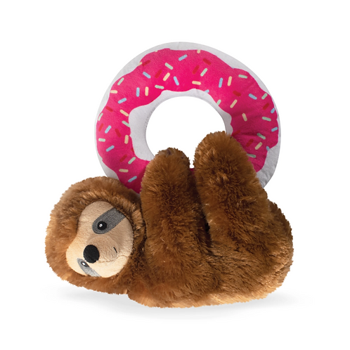 DONUT LEAVE ME HANGIN' SLOTH - Dog Squeaky Plush Toy