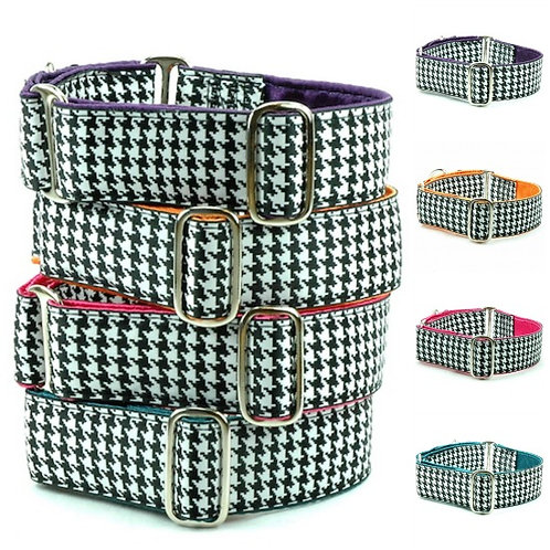 """Houndstooth - Satin Lined Buckle Collar - 1.5"""" wide"""