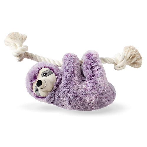 LAVENDER LILY THE VIOLET SLOTH - ROPE DOG SQUEAKY TOY