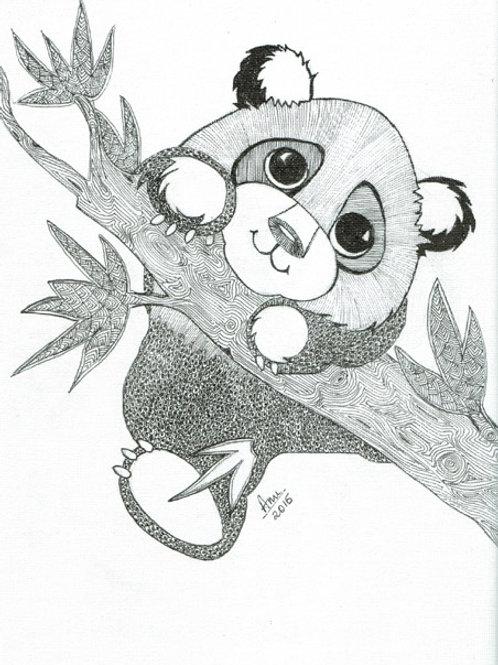 Panda Cub Ink on Canvas