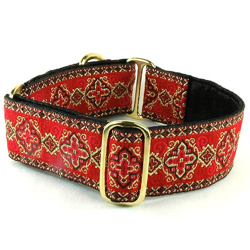 "Highlands Red - Satin Line Buckle Collar - 1.5"" wide"
