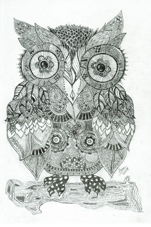 Owl Ink on Canvas