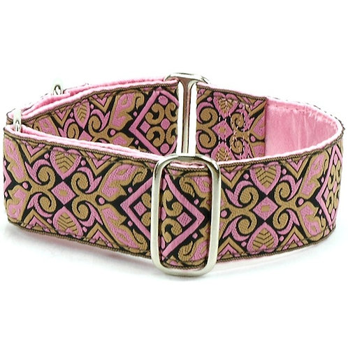 "Sari Hearts PINK - Satin Lined Buckle Collar - 1.5"" wide"
