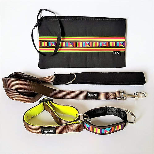 Lisu Hill Tribe Gift Set (Brown) - Collar, Leash & Purse
