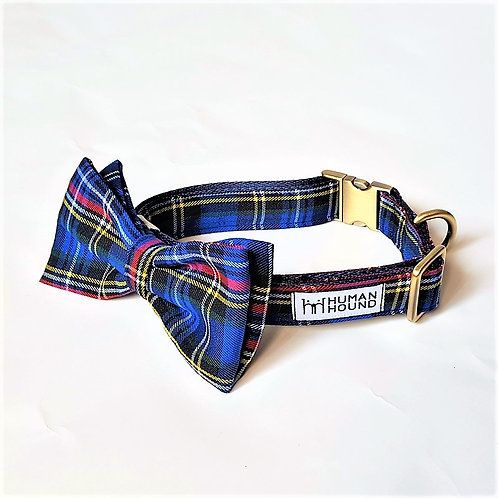 Navy Plaid Bow Tie & Collar Set