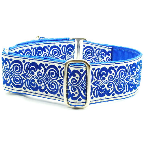 """Blue Scroll - Satin Lined Buckle Collar 1.5""""wide"""