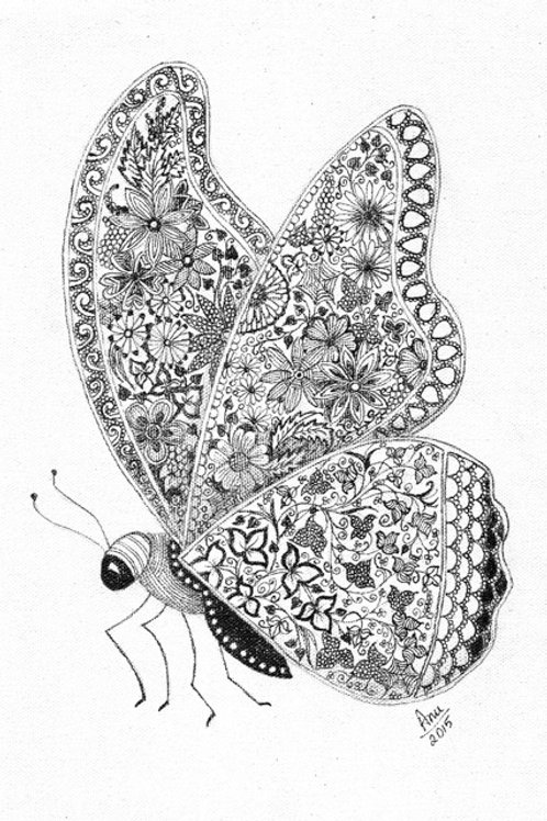 Butterfly Ink on Canvas