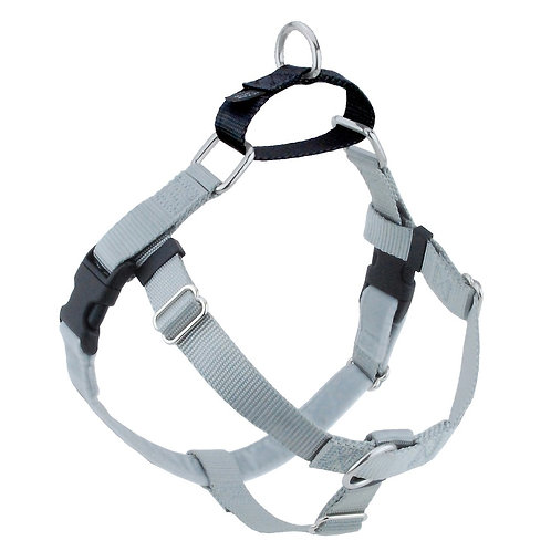 FREEDOM No-Pull Harness & Leash - Silver /Black