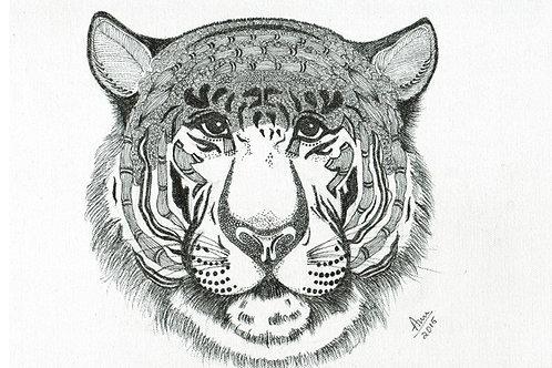 Tiger Ink on Canvas