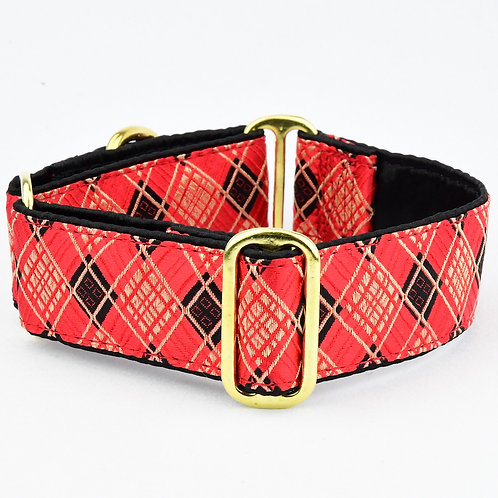 2Hounds - Argyle Red (Buckle Martingale Collar)
