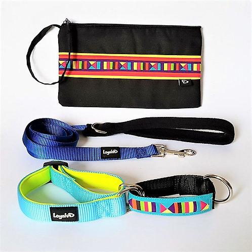 Lisu Hill Tribe Gift Set (Sky Blue) - Collar, Leash & Purse