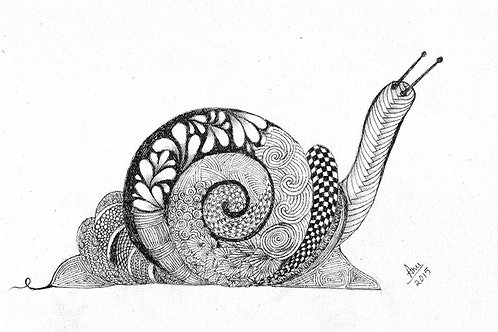 Snail Ink on Canvas