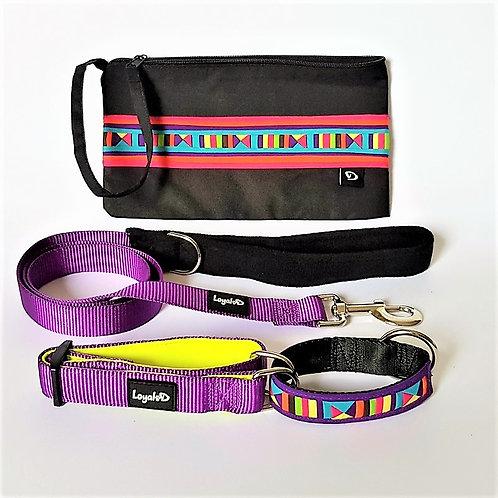 Lisu Tribe Hill Gift Set (Purple) - Collar, Leash & Purse